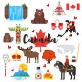 Uppsättning för vektorlägenhetstil av kanadensiska nationella kulturella symboler Arkivbilder