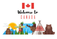 Uppsättning för vektorlägenhetstil av kanadensiska nationella objekt Royaltyfri Foto