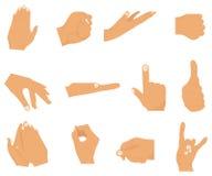 Uppsättning för vektorlägenhetstil av olika handgester stock illustrationer