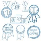 Uppsättning för vektorlineartutmärkelser Fotografering för Bildbyråer