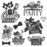 Uppsättning för vektorpartitillverkare av emblem, emblem, klistermärkear eller baner Designbeståndsdelar i miami tappningstil iso Fotografering för Bildbyråer