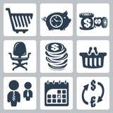 Uppsättning för vektorpengarsymboler Arkivfoto