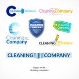 Uppsättning för vektorsamlingslogo för rengörande företag Arkivfoto