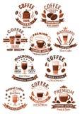 Uppsättning för vektorsymbolskaffe för kafeteria eller kafé royaltyfri illustrationer