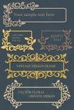 Uppsättning för vektortappningdesign av ramar med den blom- prydnaden Royaltyfri Fotografi