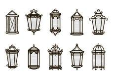 Uppsättning för vektortappninglykta som isoleras på vit Klassiskt antikt ljus Forntida retro lampdesign Traditionell kontur vektor illustrationer