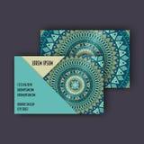 Uppsättning för vektortappningvisitkort Blom- mandalamodell och prydnader Orientalisk designorientering Islam arabiska, indier, o stock illustrationer