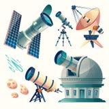 Uppsättning för vektortecknad filmastronomi Astronomiska teleskop - radio, orbital royaltyfri illustrationer