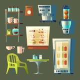 Uppsättning för vektortecknad filmkafé Sötsak-shoppa kafeteriainre Royaltyfri Illustrationer