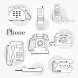 Uppsättning för vektortelefonsymboler Arkivfoton