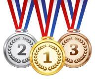 Uppsättning för vektorutmärkelsemedaljer royaltyfri illustrationer