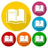 Uppsättning för vetenskapsboksymboler med lång skugga stock illustrationer