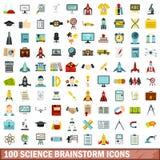 uppsättning för 100 vetenskapskläckning av ideersymboler, lägenhetstil stock illustrationer