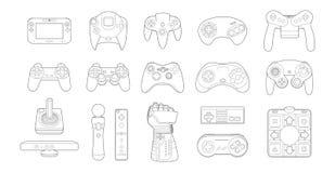 Uppsättning för videospelkontrollantsymbol Arkivfoton