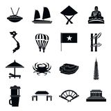 Uppsättning för Vietnam loppsymboler, enkel stil vektor illustrationer