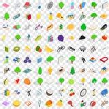 uppsättning för 100 vitalitetsymboler, isometrisk stil 3d Arkivbild