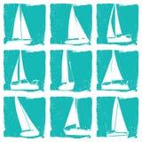 Uppsättning för yachtkontursymbol royaltyfri illustrationer