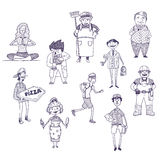 Uppsättning för yrkevektorteckningar vektor illustrationer