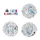 Uppsättning för zodiakbrandbeståndsdelar stock illustrationer