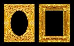 Uppsättning 2 - guld- ram för antik bild som isoleras på svart backgroun Arkivfoton