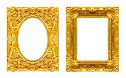 Uppsättning 2 - guld- ram för antik bild som isoleras på vit backgroun Arkivbilder