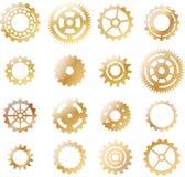 Uppsättning: gult kugghjul för guld Royaltyfria Foton