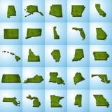 Uppsättning I för översikter för USA-stat vektor illustrationer