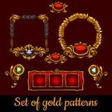 Uppsättning i stora partier av guldmodeller och garneringar Arkivbilder