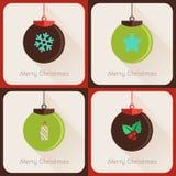 Uppsättning II av bollen för jul för hälsningkort Arkivbilder