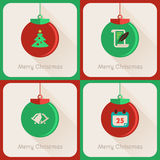 Uppsättning III av bollen för jul för hälsningkort Royaltyfri Fotografi