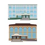 Uppsättning - illustration för två vektor av moderna byggnader Arkivbilder