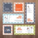 Uppsättning kort av för plan designjul och för nytt år för hälsningen stock illustrationer