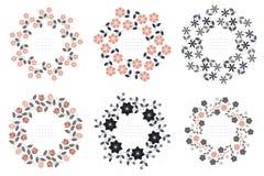 Uppsättning med blom- rundaramar på vit bakgrund Royaltyfria Bilder