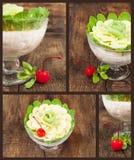 Uppsättning med avbilda av fruktefterrätten Arkivfoto