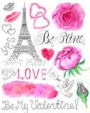 Uppsättning med rosor och grafiska förälskelsesymboler Arkivfoton