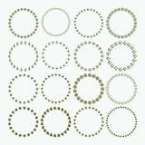 Uppsättning modeller av för cirkelgräns för det dekorativa symbolet för jul och för ferie vektor illustrationer