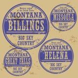 Uppsättning Montana för rubber stämpel för Grunge Fotografering för Bildbyråer
