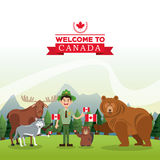 uppsättning nio av vektorn skissar Kanada symbol Tecknad filmdesign Colorfull illustrat Fotografering för Bildbyråer