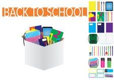 Uppsättning och ellements för skolatillförsel Stock Illustrationer