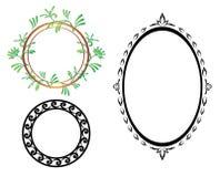 Uppsättning - ovala och runda ramar för vektor Fotografering för Bildbyråer
