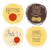 Uppsättning på temat av runda modeller av handarbete Det kan användas för klistermärkear och etiketter Arkivfoton