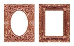 Uppsättning 2 - röd brun ram för antik bild som isoleras på vit backgr Royaltyfri Fotografi