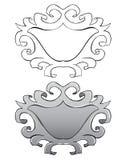 Uppsättning Ram med stuckaturen Svart översikt och målat Arkivbild