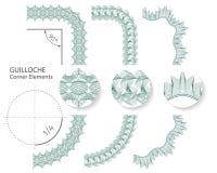 Uppsättning: Sömlösa beståndsdelar för Guillochehörngräns för certifikat eller diplom, också vektor för coreldrawillustration stock illustrationer