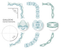 Uppsättning: Sömlösa beståndsdelar för Guillochehörngräns för certifikat eller diplom, också vektor för coreldrawillustration royaltyfri illustrationer