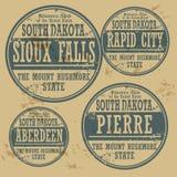Uppsättning South Dakota för rubber stämpel för Grunge Arkivbild