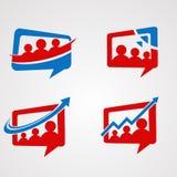 Uppsättning, symbol, beståndsdel och mall för vektor för familjpratstundlogo för företag vektor illustrationer
