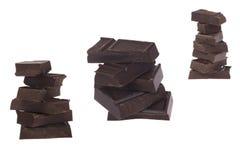 Uppsättning tre av styckmörkerchoklad royaltyfri foto