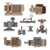 Uppsättning-vatten motor, pump, ventiler för rörledning vektor Royaltyfri Bild