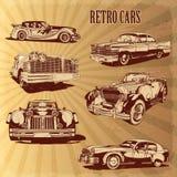 Uppsättningar av retro bilar för kontur Fotografering för Bildbyråer